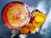 Wyśmienicie garnka Crème brÔ lée z morelami i Retro rocznik łyżką zdjęcia royalty free