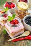 Wyśmienicie granola z jagodami, malinki zdjęcie royalty free