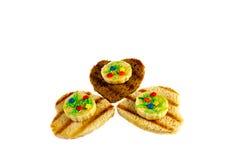 Wyśmienicie grzanka biel i brown chleb z sercem kształtowaliśmy wystrój Obrazy Royalty Free