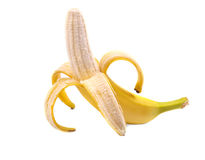Wyśmienicie i dojrzały otwarty banan na białym tle, Smakowita tropikalna i egzotyczna owoc Słodki kolor żółty i dojrzały banan Obrazy Royalty Free