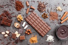 Wyśmienicie i smakowity czekoladowy tło Obraz Stock