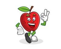 Wyśmienicie jabłka maskotka Wektor Jabłczany charakter Jabłczany logo Fotografia Stock