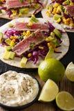 Wyśmienicie jedzenie: rybi tortillas z tuńczykiem, sezam, kukurudza, kapusta Zdjęcie Royalty Free