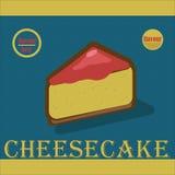 Wyśmienicie kawałek cheesecake w płaskim stylu Obraz Royalty Free
