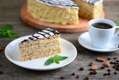 Wyśmienicie kawałek esterhazy tortowy torte Ranek filiżanka kawy z deserem Karmowy tło z odbitkową przestrzenią Obrazy Royalty Free