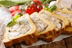Wyśmienicie kurczaka terrine, galareta w chlebie z, pikantność i ziele, zdjęcia royalty free