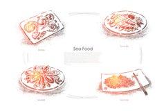 Wyśmienicie morscy naczynia, garnela, tuńczyk ryba, mussels i denny kale, wyśmienity gość restauracji, owoce morza restauracyjny  royalty ilustracja