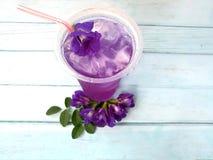 Wyśmienicie motyliego grochu dink zimno, anchan kwiat, błękitny drewniany stół zdjęcia stock
