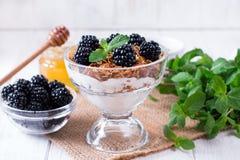 Wyśmienicie muesli deser z czarną jagodą zdrowa żywność zdjęcia stock