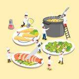 Wyśmienicie naczynia z małymi kucharzami Obraz Stock