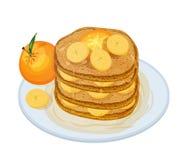 Wyśmienicie oladyi lub nakrywający syropem i owoc kłama na talerzu odizolowywającym na białym tle apetyczny ilustracja wektor