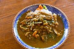 Wyśmienicie owoce morza curry'ego ryżowy puchar Zdjęcia Stock