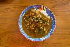 Wyśmienicie owoce morza curry'ego ryżowy puchar Fotografia Stock