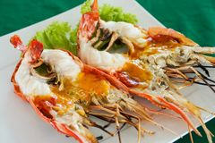 Wyśmienicie piec na grillu rzeczna krewetka, Tajlandia obrazy stock