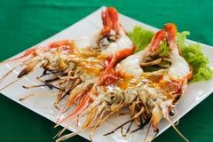 Wyśmienicie piec na grillu rzeczna krewetka, Tajlandia obraz stock