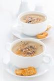 Wyśmienicie pieczarkowa kremowa polewka z croutons w pucharach Obraz Royalty Free