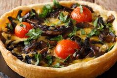 Wyśmienicie pieczarkowy tarta z serem, zieleniami i pomidoru zakończeniem, fotografia royalty free