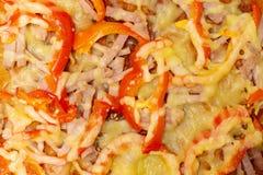 Wyśmienicie pizza zamknięta w górę tła jako zdjęcie stock