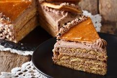 Wyśmienicie plasterek węgra Dobosh tort z karmelu zakończeniem obraz royalty free