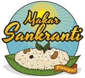 Wyśmienicie Pongal naczynie Słuzyć w Bananowym liściu dla Makar Sankranti, Wektorowa ilustracja ilustracji