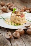 Wyśmienicie ryż z pieczarkami i rozmarynami, risotto obraz stock