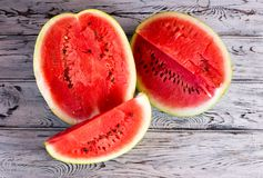 Wyśmienicie Słodki arbuz Dojrzały, czerwony, arbuz Zdjęcie Stock