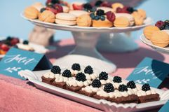 Wyśmienicie słodki bufet z babeczkami, macaroons, inni desery, Fotografia Stock