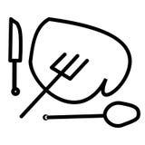 Wyśmienicie serce czerwony kierowy nóż, łyżka i rozwidlenie -, Obrazy Royalty Free
