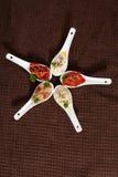 Wyśmienicie sety sałatki robić od pieprzu, aubergine, pomidory na brown tle Fotografia Royalty Free