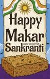 Wyśmienicie Sezamowa Chikki przekąska nad powitanie ślimacznicą dla Makar Sankranti, Wektorowa ilustracja royalty ilustracja