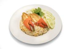 Wyśmienicie smażący ryż z krabem Zdjęcia Royalty Free