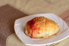 Wyśmienicie tort z mięsem na talerzu fotografia royalty free