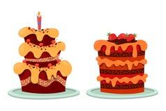 Wyśmienicie tort z truskawką i świeczką zamraża, Obraz Stock