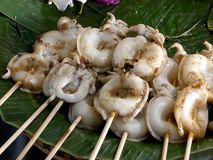 Wyśmienicie uliczny jedzenie w Bangkok, piec na grillu kałamarnica zdjęcia royalty free