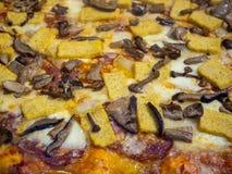 Wyśmienicie Włoska pizza z pieczarkami i polentą gotującymi w drewnianym piekarniku, zdjęcie stock