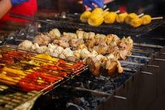 Wyśmienicie warzywa i mięsny opieczenie na otwartym grillu, plenerowy k zdjęcia stock