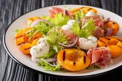 Wyśmienicie zakąski sałatka z mozzarella serem, prosciutto, piec na grillu morele, czerwoną cebulę na i świeżą obfitolistną sałat obrazy royalty free