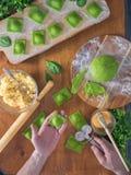 Wyśmienicie zielone kluchy z szpinaka ciastem faszerowali z serem carpaccio kuchni doskonale stylu życia, jedzenie luksus włoski Obraz Stock