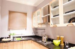 Wyśmienite nowe kuchni cechy nowoczesna kuchnia wewnętrznego zdjęcia stock