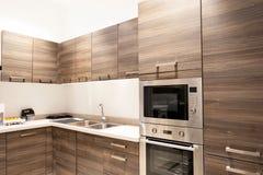 Wyśmienite nowe kuchni cechy nowoczesna kuchnia wewnętrznego zdjęcie royalty free