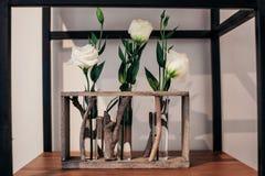 Wyśmienity kwiatu sklepu białych róż pokaz zdjęcie royalty free