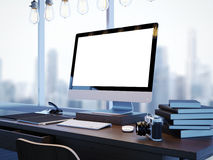 Wyśmiewa up nowożytny workspace z panoramicznymi okno Obrazy Stock