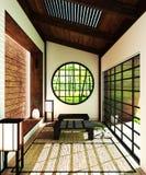 Wyśmiewa w górę Japonia pokoju - nowożytny żywy pokój z okno, drzwi, stołem i podłogą, projekt dekoracji Japoński styl, 3D render zdjęcia stock