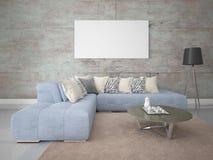 Wyśmiewa w górę modnego żywego pokoju z elegancką narożnikową kanapą ilustracji