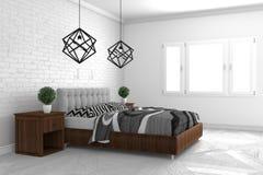 Wyśmiewa w górę Pięknego, sypialni w nowożytnym wewnętrznym projekcie na białej podłodze i bielu ściennego tła, pusty pokój ?wiad zdjęcie royalty free