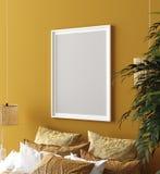 Wyśmiewa w górę plakata, musztarda koloru sypialni wnętrze z wzorzystym łóżkiem, czecha styl obraz stock