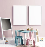 Wyśmiewa w górę plakata w wnętrzu dziecko playroom Nowożytny styl Zdjęcia Royalty Free