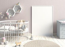 Wyśmiewa w górę plakata w wnętrzu dziecko sypialny miejsce nowożytny Zdjęcie Stock
