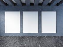 Wyśmiewa w górę plakata z rocznika modnisia minimalizmu pastelowego loft wewnętrznym tłem, 3D rendering, 3D ilustracja Fotografia Royalty Free