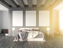 Wyśmiewa w górę plakata z rocznika modnisia minimalizmu pastelowego loft wewnętrznym tłem, 3D rendering, 3D ilustracja Obraz Royalty Free